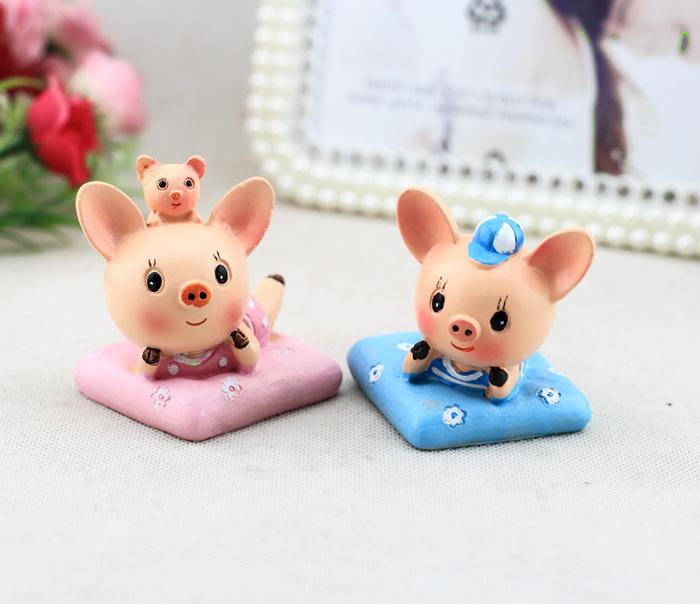 超萌趴枕猪 可爱小猪 创意汽车饰品摆件 树脂工艺品 两个装